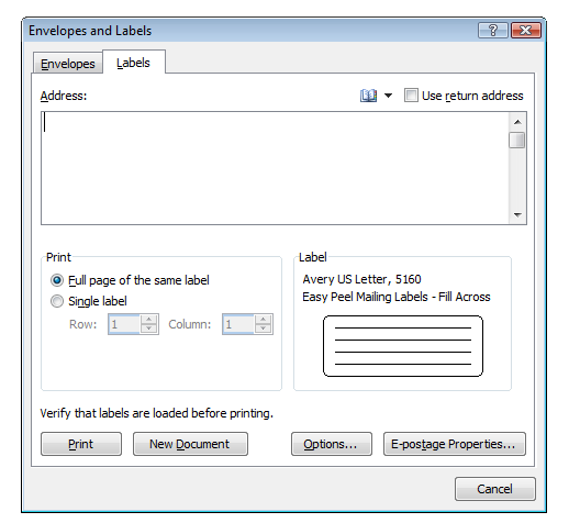 how to create mailing labels in word