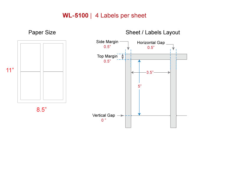 Print Shipping Labels Our Wl 5100 Same Size Avery 5168 Blank
