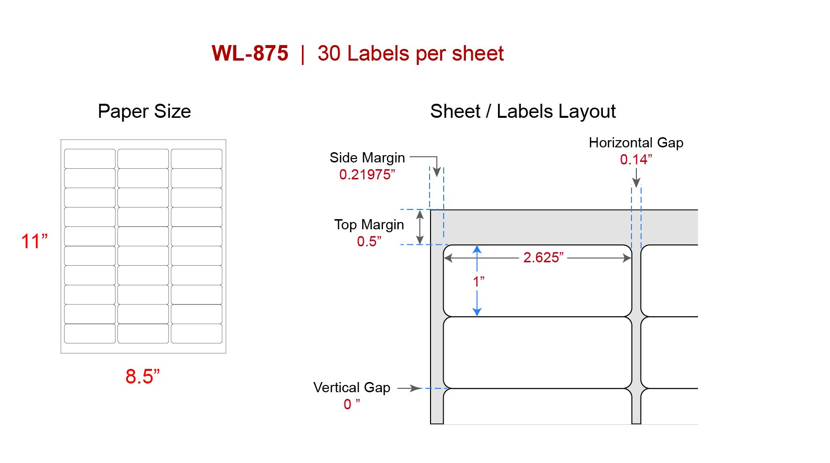 Address Labels Our Wl 875 Same Size As Avery 5160 8160 Mailing