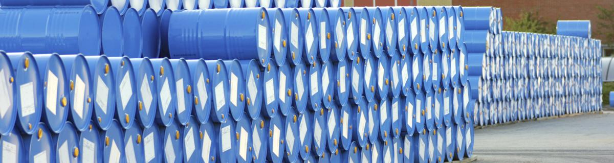 Polyester labels on chemical barrels outdoors