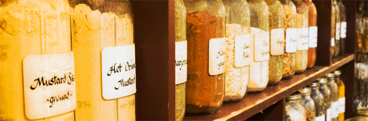 large jars labeled for storage