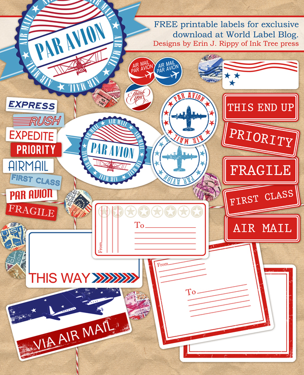 air mail printable label set