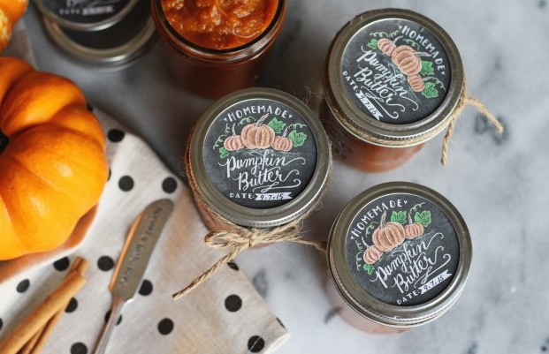 jam peach jar labels handdrawn